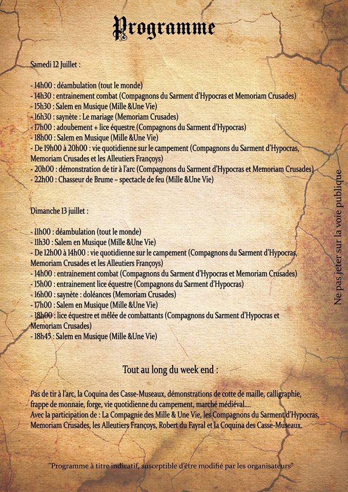 programme médiévale 2014